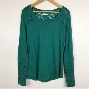 NWT Maurices Green Lacey Long Sleeve Top